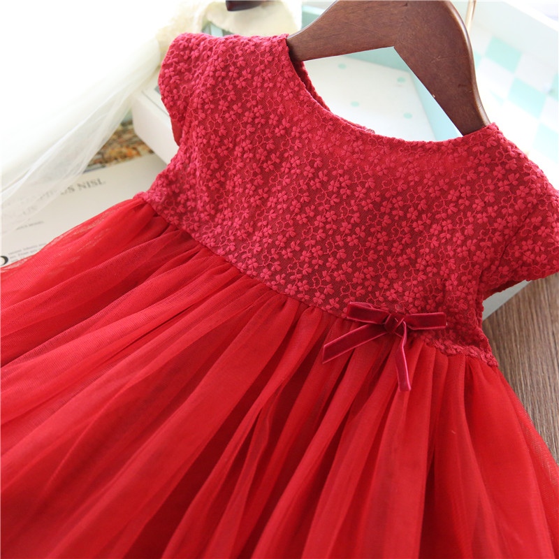 Lace Girl Party Dress Children Clothing Princess Kids Dresses For Girls Causal Wear 2 3 5 6 7 Years White Red Vestido Robe Fille 4