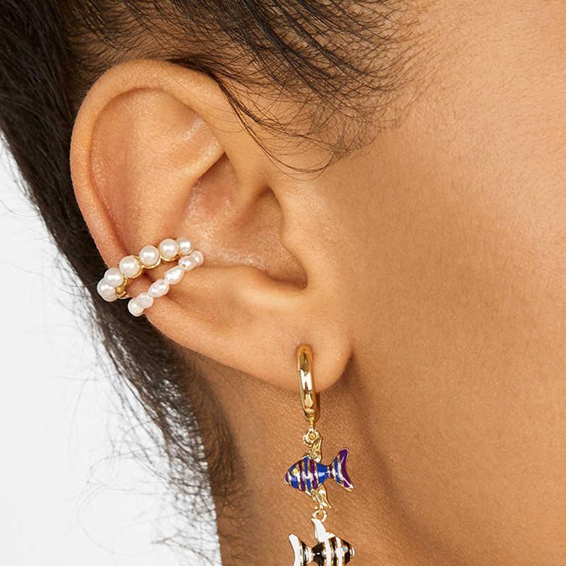 2019 新ファッション真珠の耳カフボヘミスタッカブル C 形 CZ ラインストーン小さな Earcuffs クリップ女性のウェディングジュエリー