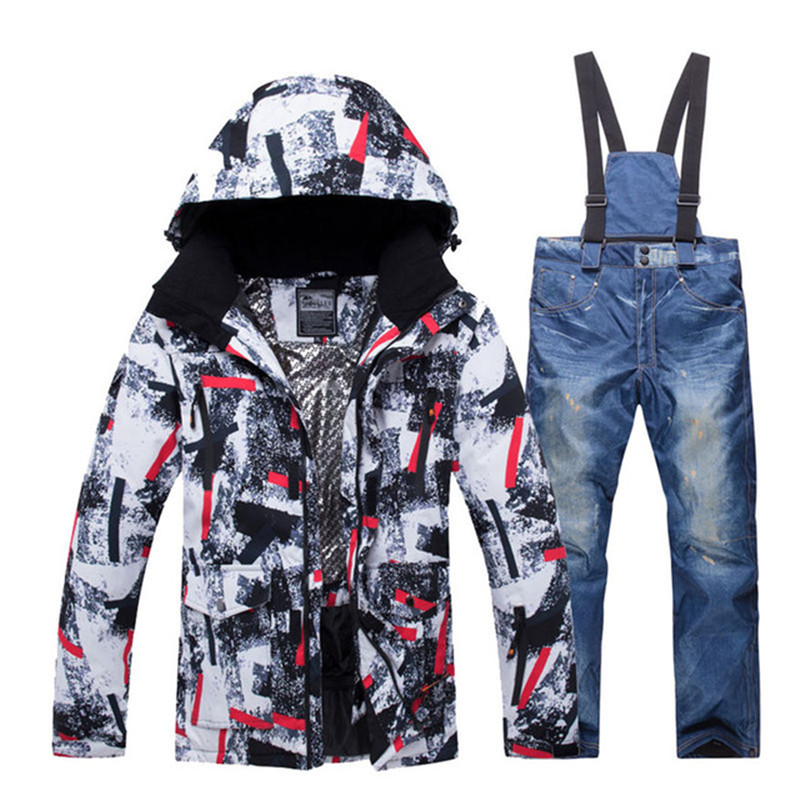 Men Snow Suit Sets Snowboarding Clothing Winter Outdoor Sports Ski Wear Waterproof Thicken -30 Warm Costume Jackets And Pants