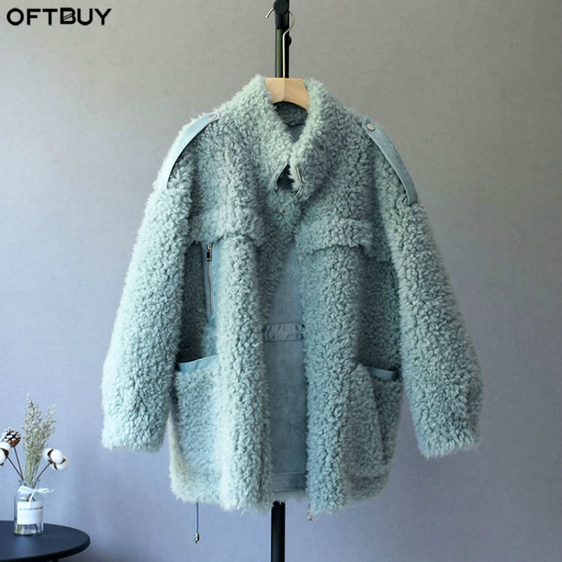 OFTBUY 2019 Parka Winter Jacket Women Real Fur Coat 100% Woven Wool Teddy Polar Fleece Bear Plush Suede Streetwear Fashion