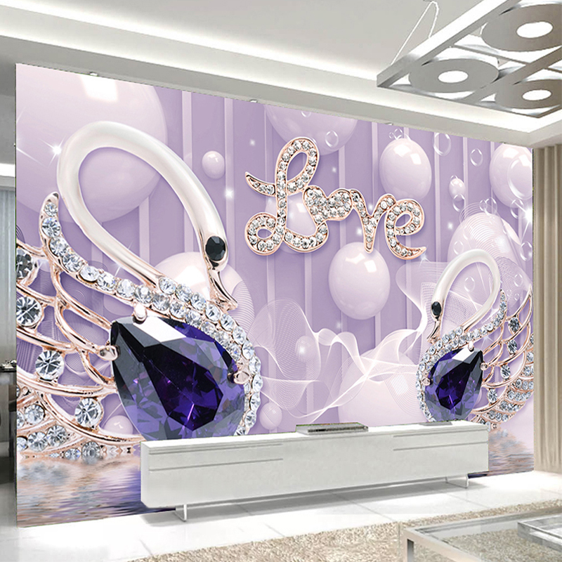 Custom 3D Photo Wallpaper LOVE Romantic Modern Swan Jewelry Living Room Sofa TV Background Wall Decoration Mural Papel De Parede