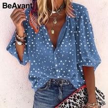 BeAvant Sexy floral print women blouse shirts Casual office
