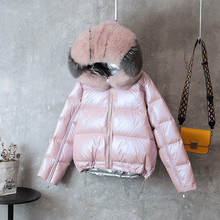 Plus Size Real Fox Fur Collar Winter Puffer Jacket Women Loose Short Coat Female White Duck Down Thick Warm Parka Harajuku Coats(China)