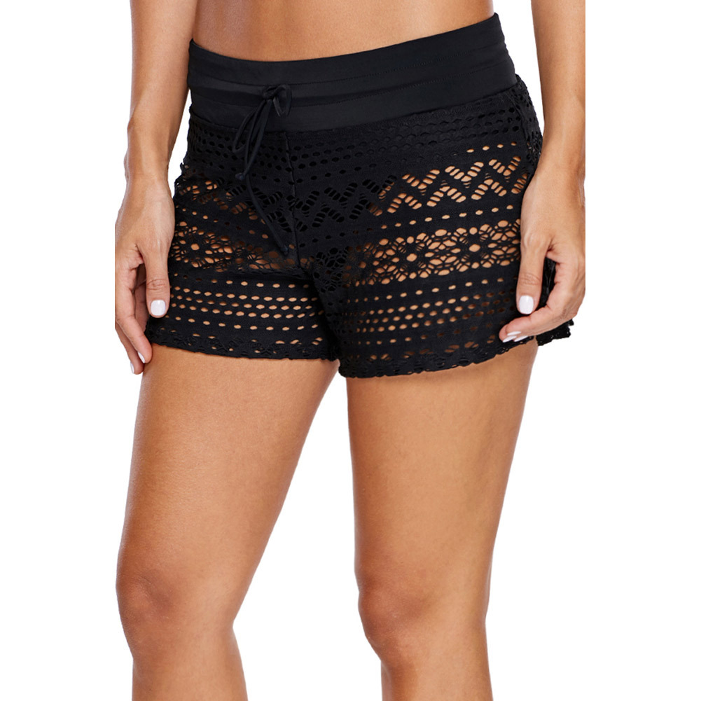 Swimming Trunks Female Black Jacquard Lace Shorts Women's Four Corners Swimming Trunks Hot Springs Swimming Shorts One-Piece Cas