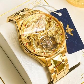OUPINKE Men's Tourbillon Watch Business Sapphire Mirror Waterproof Luminous Dragon Design Wrist Watch Automatic Mechanical 1