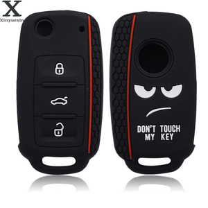 Xinyuexin Dont Touch My Key Silicone Car Key Cover Case for VW Golf Polo Passat Scirocco Tiguan for Skoda Octavia Seat(China)