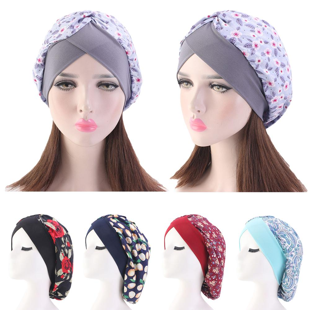 Muslim Women Stretchy Sleep Night Hat Print Beanie Turban Cancer Head Cover Cap Slouch Hat Bonnet Wide Band Islamic Turban Cap