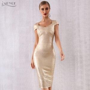 Image 1 - ADYCE Mùa Hè Mới Băng Váy Phụ Nữ Vestidos Verano 2020 Sexy V Neck Tắt Vai Người Nổi Tiếng Bên Váy Sexy Câu Lạc Bộ Bodycon ăn mặc