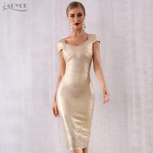 Женское платье с короткими рукавами ADYCE, золотистое бандажное платье, вечерние облегающие платья миди, лето 2020