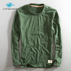 Image 2 - גברים אביב סתיו אופנה סין סגנון בציר מוצק צבע במבוק כותנה ארוך שרוול O צוואר חולצה זכר מזדמן דק טי Tshirts