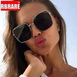 RBRARE Luxury Square Sunglasses Women Brand Designer Retro Alloy Frame Big Sun Glasses Vintage Gradient Male Oculos Feminino