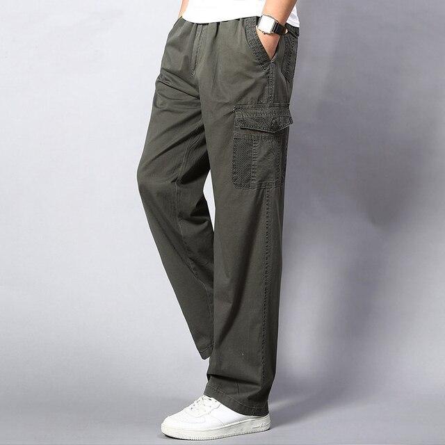 Plus Size Big Men Cargo Pants Casual Men Elastic Waist Multi Pocket Overall Cotton Pants Male Long Baggy Large Trouser 5XL 2