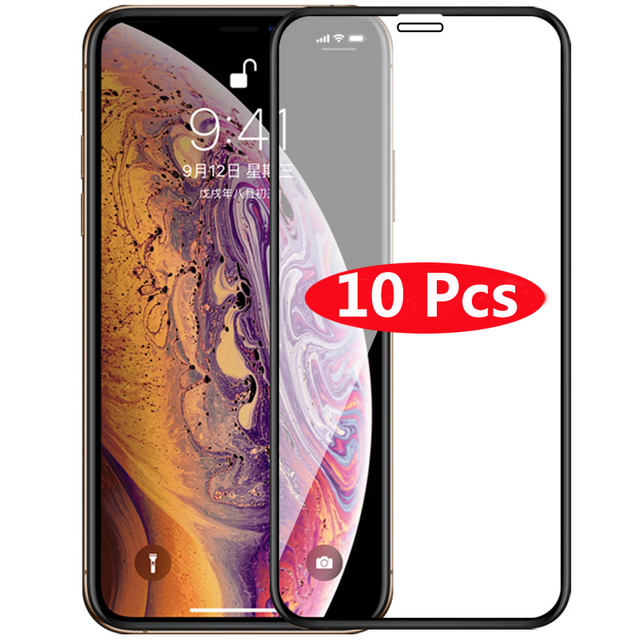 10Pcs Tempered Glass for iPhone Xs Max X XR 5 5S 6 6S Plus 7 8 Plus Screen Protector for iPhone 11 Pro Max Xs 5 5S 6 6S 7 8 Plus