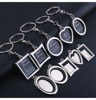 100 шт./лот, металлическая фоторамка, брелок в форме сердца, круглая квадратная форма, брелок для Apple, сделай сам, логотип для влюбленных, подар