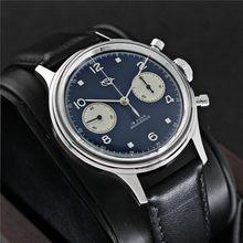 Estrela vermelha 1963 38mm azul escuro relógio cronógrafo masculino acrílico espelho de vidro safira st1901 gooseneck relógio homem relogio masculino