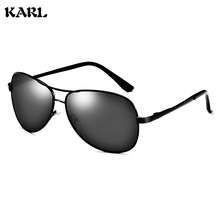 New Polarized Sunglasses Men KARL Brand Designer Pilot Metal Spring Legs Vintage Aviation Driving Women
