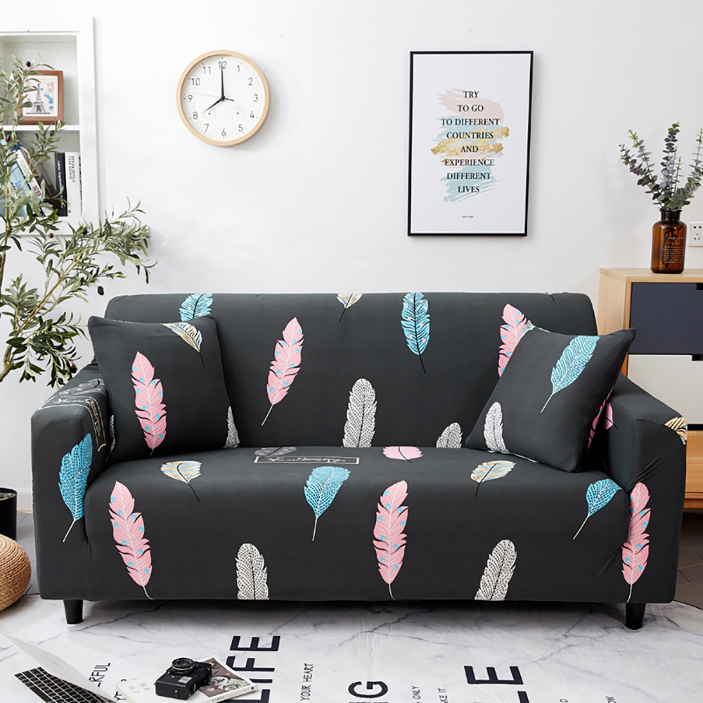 >Thumbedding <font><b>Colorful</b></font> <font><b>Feather</b></font> <font><b>Sofa</b></font> Cover Living Rooms Stretchable Durable Washable Protector Couch Cover Dark Grey High End