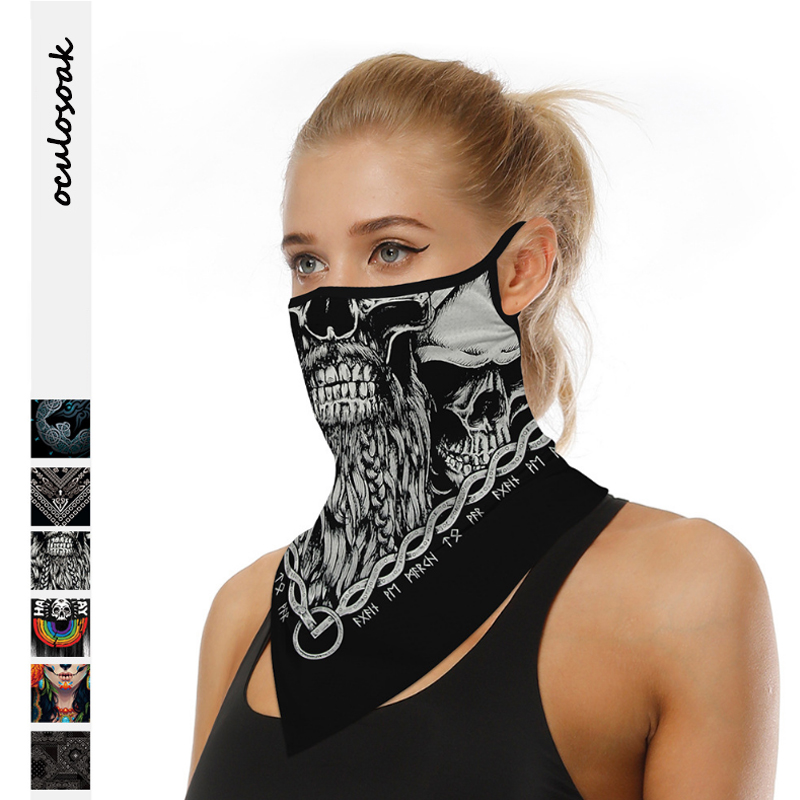 Explosion Skull Digital Printing Dustproof Sunscreen Outdoor Riding Triangle Scarf  Multifunctional Scarf