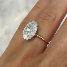 Band Finger-Ring Cz-Stone Oval Wife Four-Prong-Setting Wedding-Anniversary Girlfriend