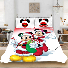 Christmas Mickey Cute King-Full Size Soft Bedding set Bedclothes Include Duvet Cover Pillowcase Print Home Textile Bed Linens