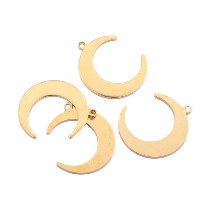 Raw Brass Pendant 9x33mm Raw Brass Moon Pendant Moon Charms Crescent Moon Charm MMC MTE894 Moon Necklace Multi Hole Pendant