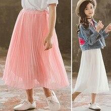 Little Girls Summer Skirt Teen High Waist Long Maxi Girls Skirts