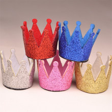 100pcs/lot Kids Crown Headbands 3D Glitter Felt For Infrant Hat Girls Hairpins Birthday Christmas Hair Accessories A65