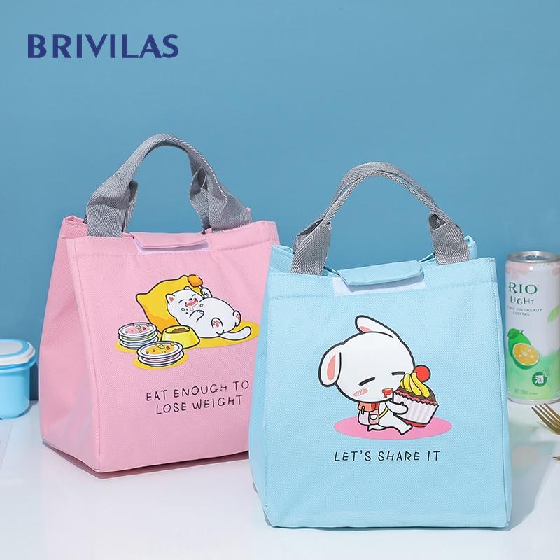 Brivilas  Lunch Bag For Women Cute Cartoon Kid Cooler Bags Waterpr Cat Thicken Thermal Breakfast Food Box Portable Picnic Travel