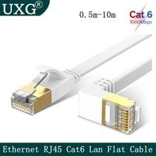 Cabo liso do lan do cabo de remendo dos ethernet de 90 graus cat6 1000mbps 250mhz cat6 rj45 para o portátil do roteador do computador