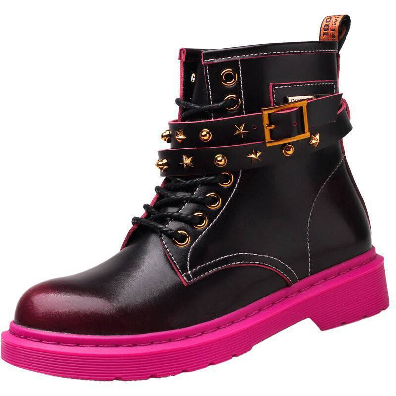 Fashion Winter Womens Punk Studded Leather Ankle Boots Rivet Vintage High Top Motorcycle Biker Shoes Block Heels Boots