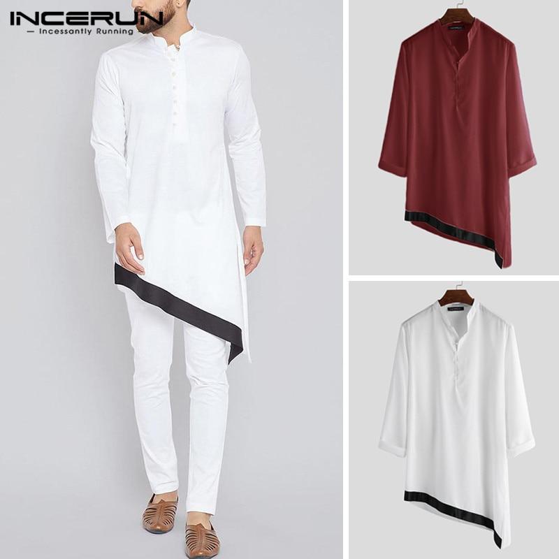 INCERUN Indian Clothing Men Irregular Shirt Patchwork Long Sleeve Stand Collar Retro Long Shirt Men Muslim Clothing 2019 S-5XL