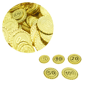100Pc Plastic Gold Coins Pirates Fake Shining Party Favor Currency Toy Playset Chips for Children