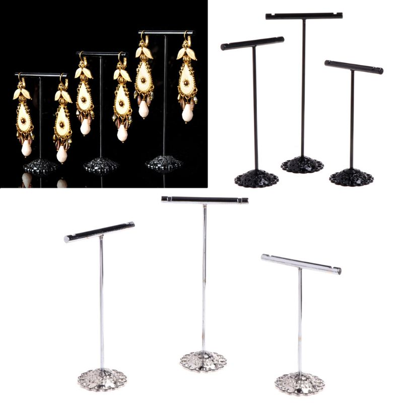 3 Pcs Alloy Earrings Display T-Shape Stand Showcase Jewelry Organizer Holder