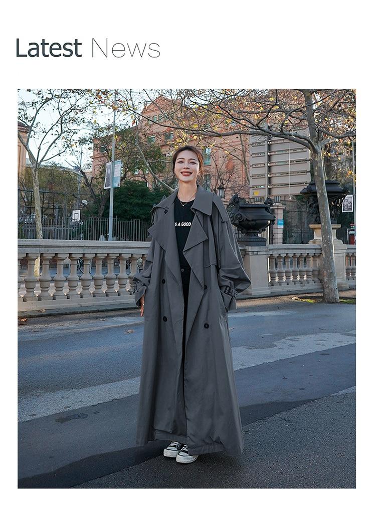 Hd0ed216ecae04d34a1423b088880b7f8U Korean Style Loose Oversized X-Long Women's Trench Coat Double-Breasted Belted Lady Cloak Windbreaker Spring Fall Outerwear Grey