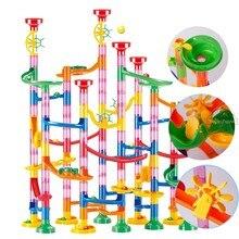 Mármore corrida pista blocos de construção crianças 3d labirinto bola rolo brinquedo diy mármore corrida conjunto montanha russa 80/105/109/133pc presente natal