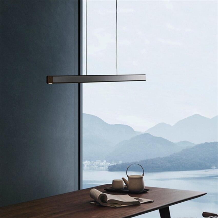 Moderne Lange Holz LED Anhänger Ieuchtet Beleuchtung Nordic Minimalistischen Aluminium Anhänger Lampe Restaurant Studie Schlafzimmer Decor Luminarie