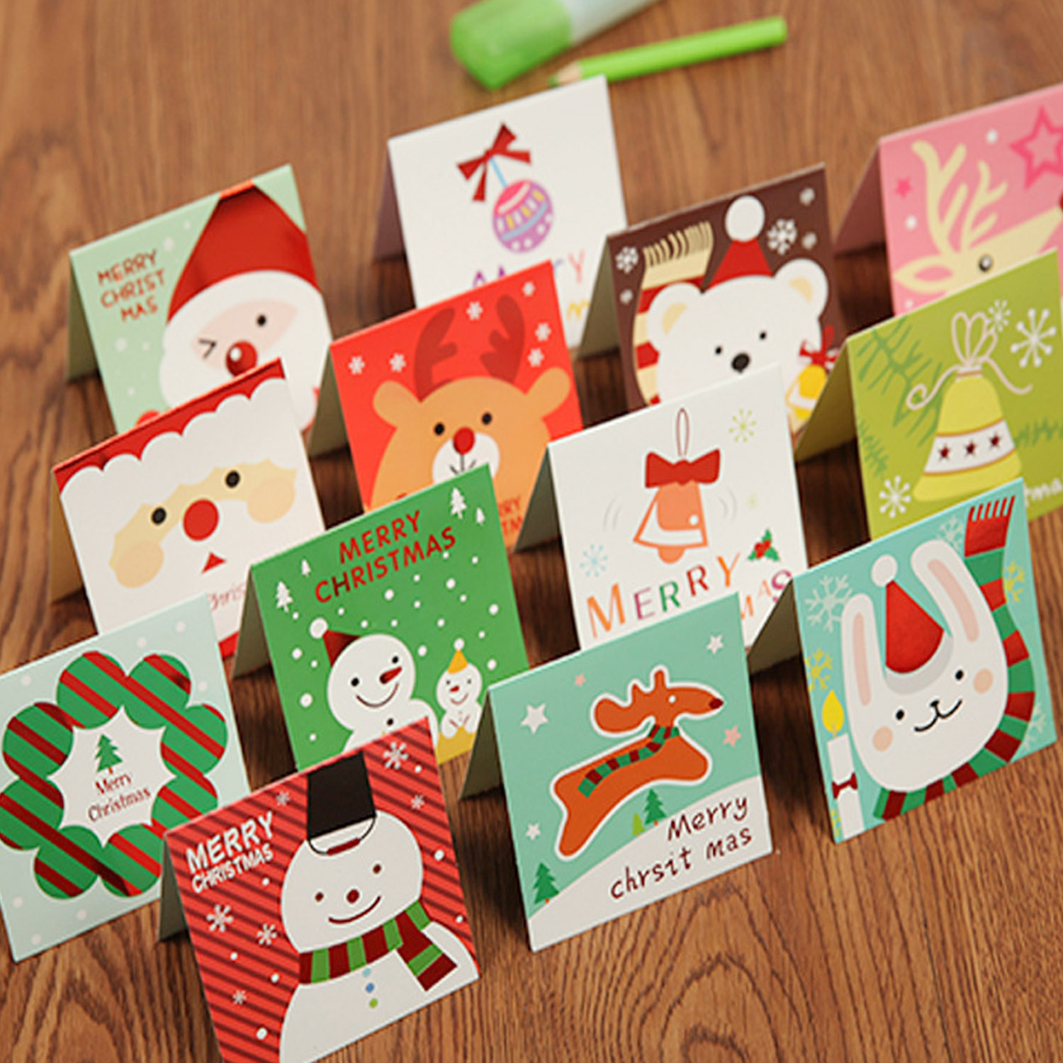20PCS Funny Cute Merry Christmas Xmas Paper Greeting Blessing Cards With Envelope For Holiday Festival Party Supplies