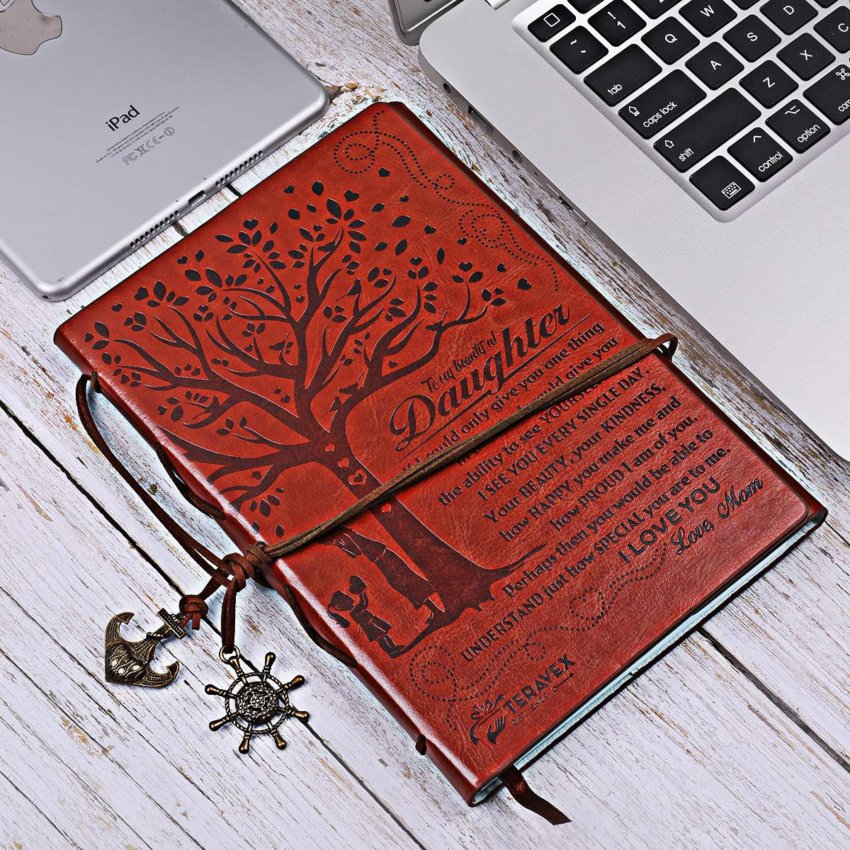 Image 5 - Creative 2020 Mom to Daughter Notebook Gift Refillable Meeting Notebook Diary Notepad Vintage Pirate Anchors PU Leather Notebook-in Notebooks from Office & School Supplies
