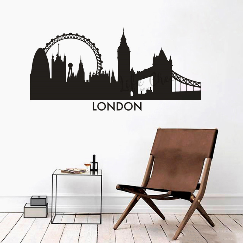 London City Silhouette Wall Vinyl Decals England London Landscape Wall Sticker Home Living Decor Adhesive City Skyline Mural Wall Stickers Aliexpress
