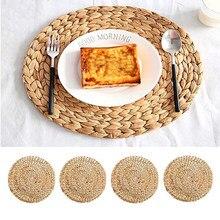 Antiderrapante copo mesa matround jacinto placemat alta qualidade tecido vime isolamento copo esteiras palha tigela esteiras coaster decoração