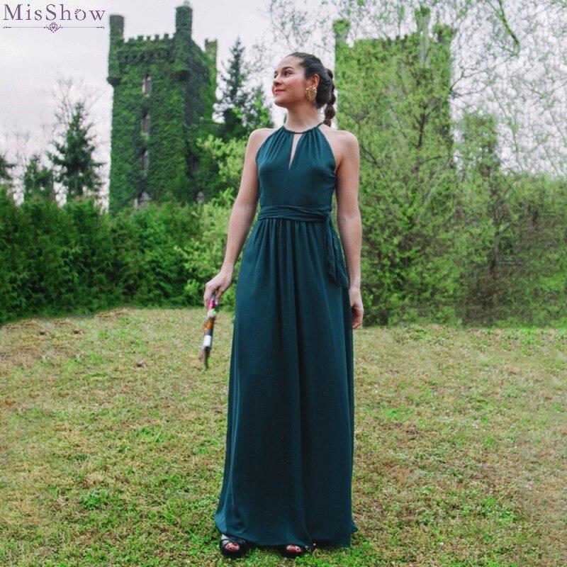 Vert profond mousseline de soie longue robe de soirée 2019 élégant une ligne formelle robe Sexy licou sans manches robe de soirée