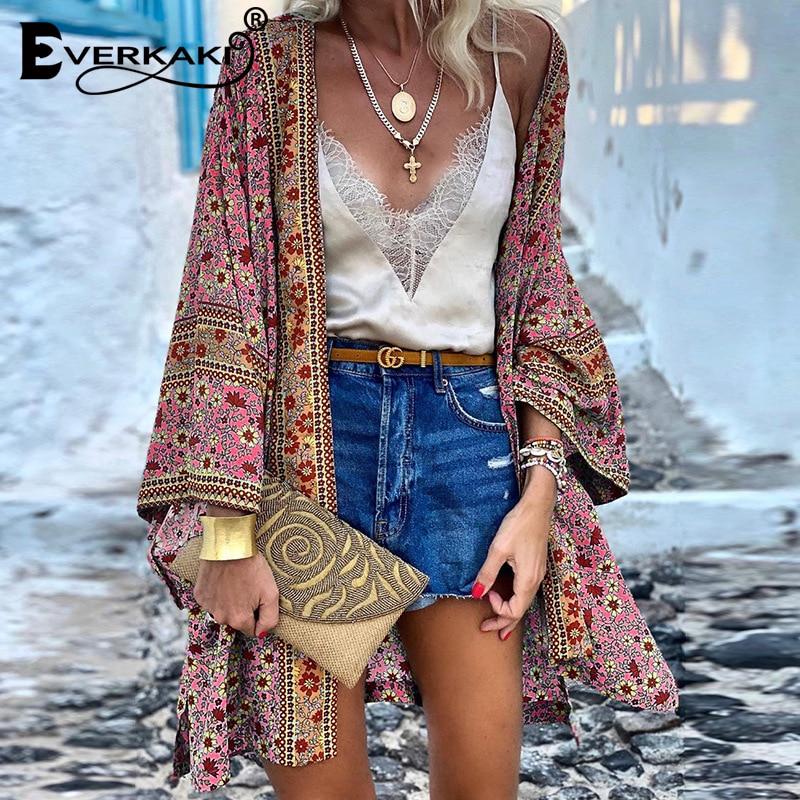 Everkaki Boho Print Kimono Coat Women Outerwear Loose Gypsy Ladies Ethnic Coats Female Kimonos 2020 Autumn Winter New Fashion
