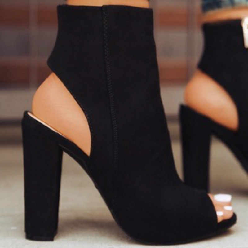 ข้อเท้ารองเท้าหนัง Faux Suede เปิด Peep Toe รองเท้าส้นสูงซิปแฟชั่นสแควร์สีดำรองเท้าผู้หญิง Plus ขนาด 43