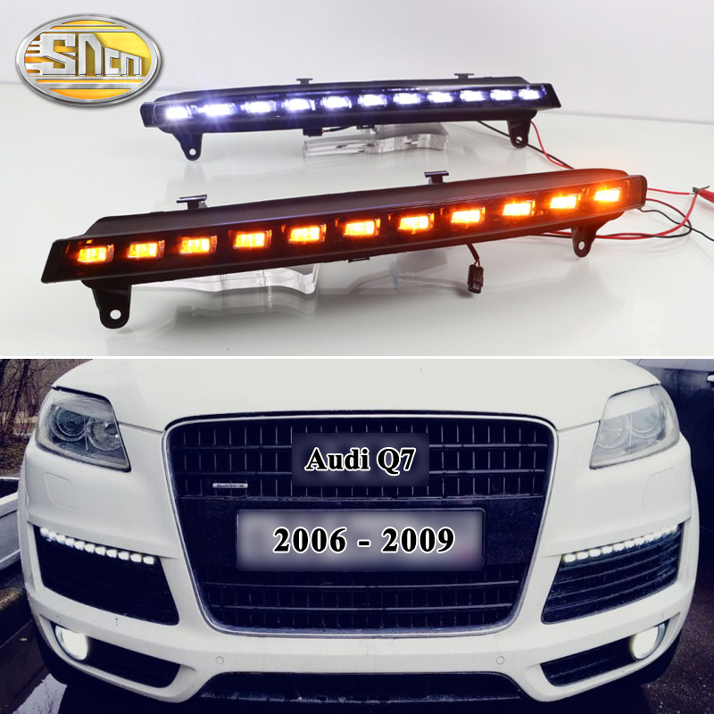 2pcs For Audi Q7 2006 2007 2008 2009 Yellow Turn Signal Function Car DRL Waterproof 12V LED Daytime Running Light Fog Lamp Bulb