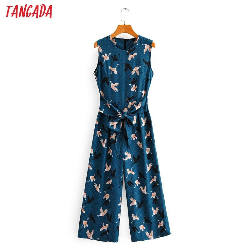 Tangada Women Summer Birds Print Long Jumpsuit Sleeveless Back Zipper O Neck Female Casual Jumpsuit 2F46