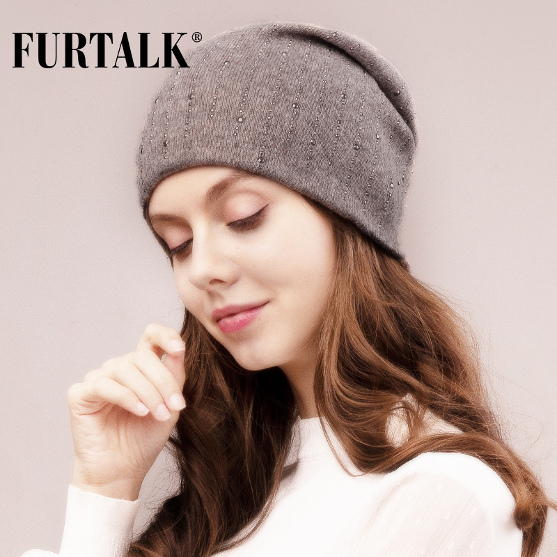 FURTALK Wool Winter Hat For Women Slouchy Beanie Rabbit Fur Knitted Skullies Hats With With Rhinestones Female Autumn Cap