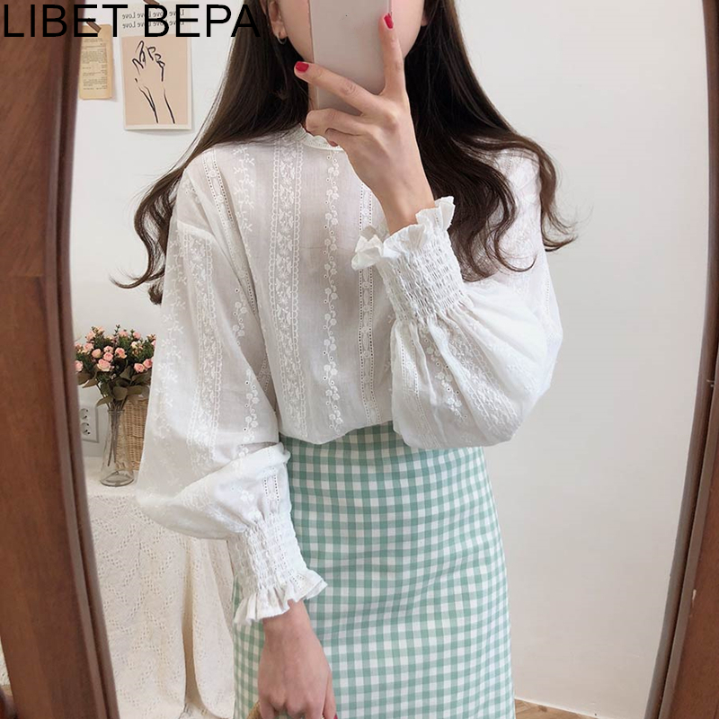 New 2020 Spring Summer Women's Blouse Casual Fashionable Shirt Embroidery Elegant Lantern Sleeve Lace Up Sweet Lady Tops BL1903