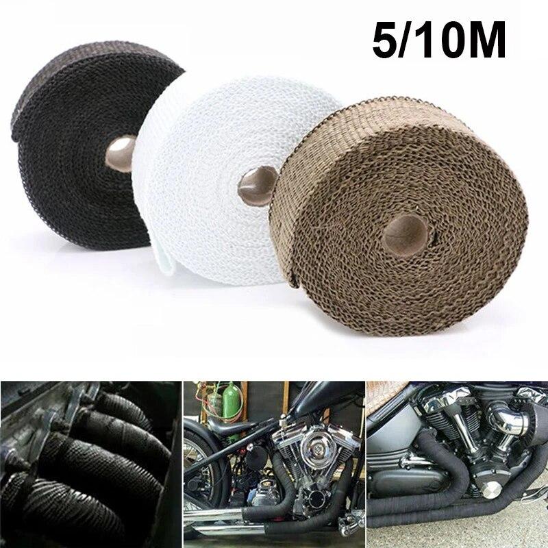 thermal exhaust tape moto muffler heat wrap roll for motorcycle fiberglass heat shield tape titanium black white stainless ties