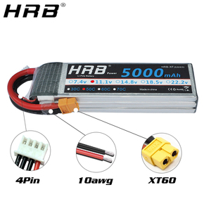 Image 2 - HRB 5000mah 11.1V Lipo Battery 14.8V 50C T Deans XT60 EC5 7.4V 2S 3S 18.5V 22.2V For FPV Airplane Boat 4WD Car RC Parts 4S 5S 6S