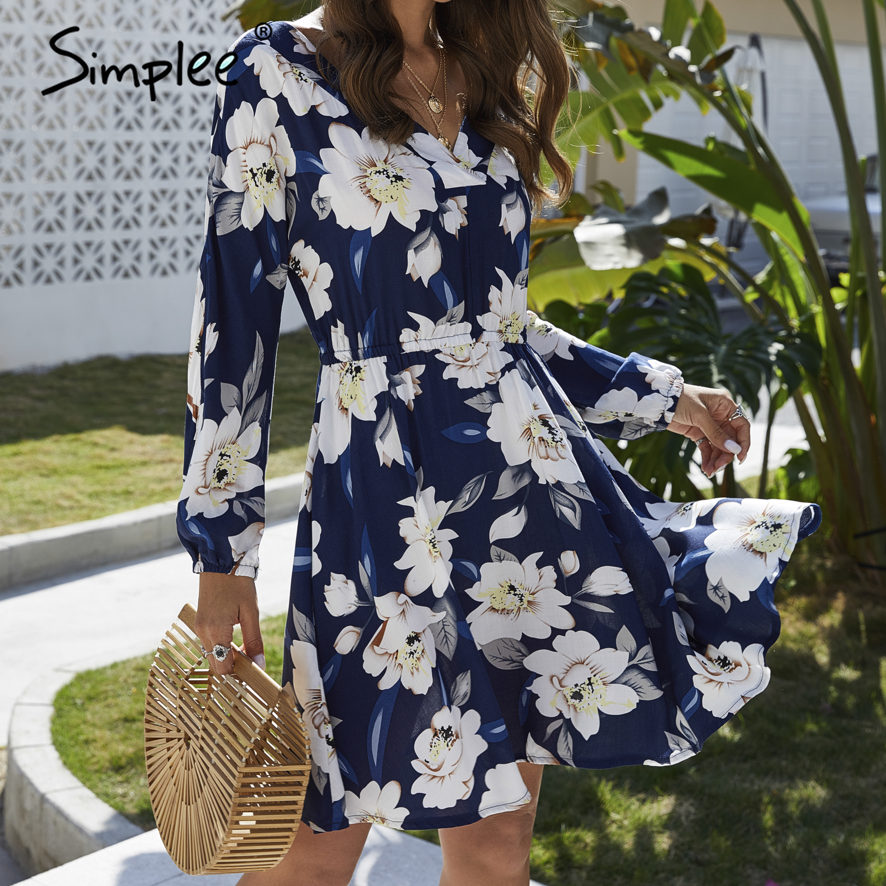 Simplee Floral print women dress Casual long sleeve v neck holiday summer dress Streetwear boho a line beach wear midi dress
